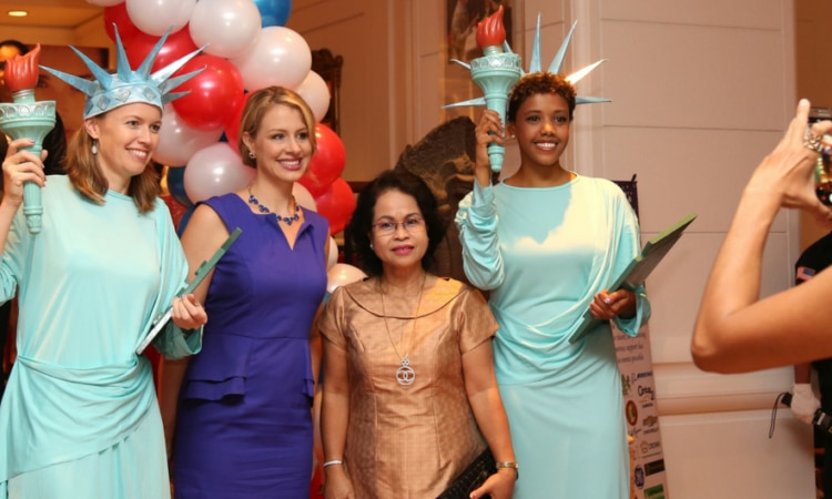 Our staff dressed up as the iconic Statue of Liberty [Photo: Un Yarat]
